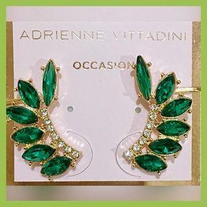 Elegant Emerald Green Crawler   Ear Cuff Earrings